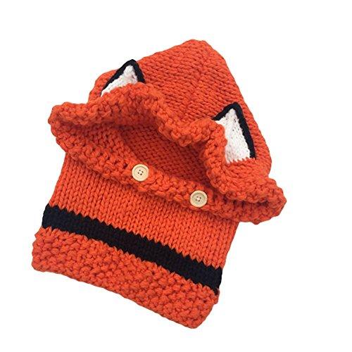 Nuovo cappello di protezione cappello di lana orecchio animale volpe con sciarpa bambini incappucciati lavoro a maglia handmade Autunno Inverno grandi cornicioni (arancione)
