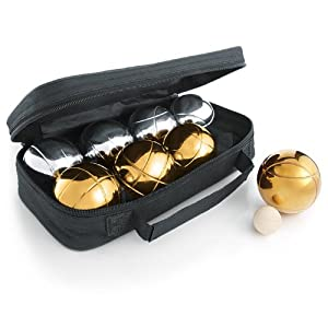 The Day of Games Petanque Bocce Set, 73mm, Gold/Silver