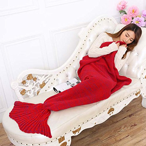 Fenghenshun Knitted Mermaid Tail Blanket For Adult and Child ,Super Soft and Fashion Sleeping Bags For Birthday Christmas all Holiday (Red 01) (Mermaid Sewing Kit compare prices)