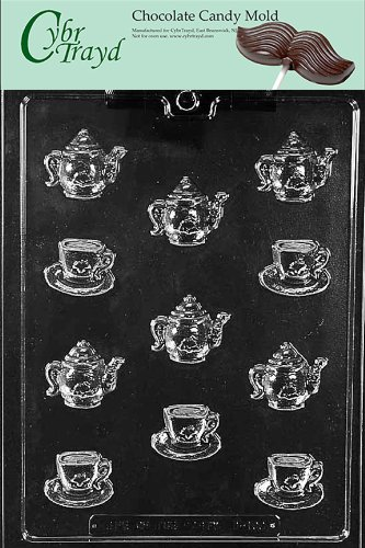 Cybrtrayd D100 Bite Size Tea Pots And Bite Size Demi Tasse Cup Chocolate Candy Mold With Exclusive Cybrtrayd Copyrighted Chocolate Molding Instructions