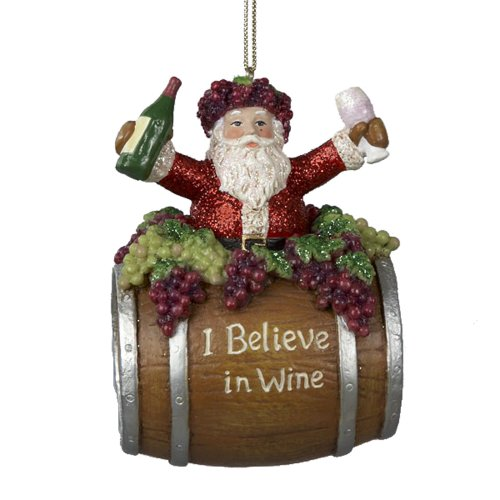 Kurt Adler Santa Claus Wine Barrel Ornament