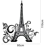 "Olivia Huge Eiffel Tower Paris City France Wall Decals Vinyl Removable Wall Stickers Graphic Art for Living Room Bedroom Office House Design Home Decor (Black, 23.6"" X 42.5"")"
