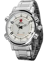 Shark Mens Stainless Steel Digital Day & Date Quartz Pop Sport Wrist Watch + Box