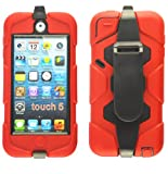 Magic Global Gadgets - New Red Heavy Duty Builders Armour Triple Defender Tough Survivor Military Shockproof Hard Case Cover For Apple iPod Touch 5 5th Gen Generation With Belt Clip & Built in Screen Guard