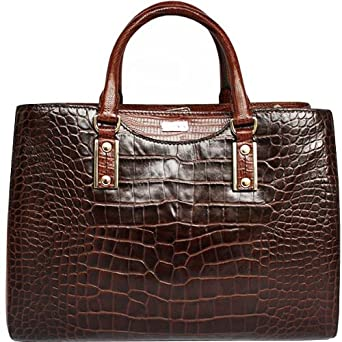 hugo boss tasche mila mit crocopraegung braun b x h x t. Black Bedroom Furniture Sets. Home Design Ideas