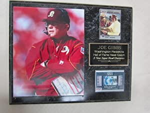 Joe Gibbs Washington Redskins 2 Card Collector Plaque w 8x10 photo by J & C Baseball Clubhouse