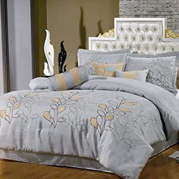 Fresh SILVER LINEN Piece Luxury CALIFORNIA KING Oversized Comforter Set