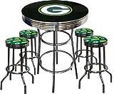 5 Piece Green Bay Packers Logo Chrome Finish Black Pub Table w/ 4 Bar Stools
