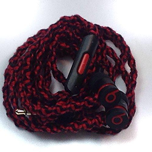 Mybuds Tangle Free Headphones W/Mic Black & Red Wrapped Genuine Beats Urbeats