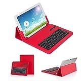 【Ewin】9.7インチ タブレット ケース~10.1インチ タブレット ケースキーボードブルートゥース 【iOS Android Windows兼用】キーボード分離可能 四段階調整可能 スタンド機能付き Bluetooth 3.0 keyboard case for 9.7-10.1 inch tablet PC (レッド)