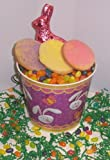 Scott's Cakes 1 lb. Easter Egg Sugar Cookies in a Purple Bunny Pail with Jelly Beans and Milk Chocolate Bunny