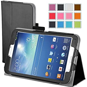 Maxboost Leather Case for Samsung Galaxy Tab 3 8.0 Inch Black - Book Folio Style with Built-in Stand, Wallet Card Holder, Stylus Holder, Hand Holding Strap, Memory Card Holder