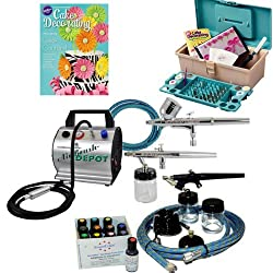 Complete Master Professional Cake Decorating System with 3 Airbrushes 1 Gravity Feed and 2 Siphon Feed Airbrushes, TC-60 Air Compressor, 3 Hoses, 50 Piece Wilton Cake Decorating Set and a set of 12 - 0.7 oz. Americolor AmeriMist Food Colors