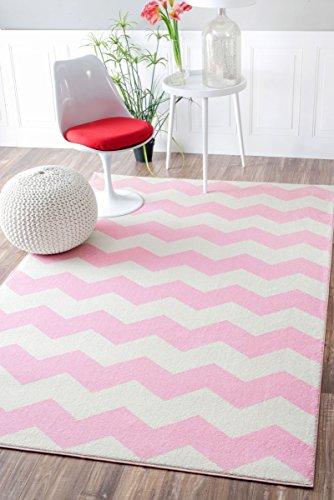 Geometric Chevron Vibe Zebra Pink Kids Area Rugs, 5 Feet 3 Inches by 7 Feet 9 Inches (5' 3