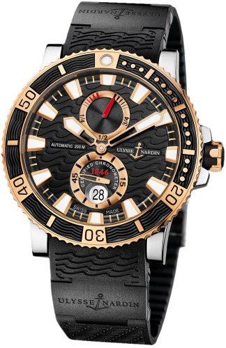 new-mens-ulysse-nardin-18k-rose-gold-maxi-marine-diver-titanium-watch-265-90-3c-92