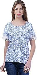 TSAVO Women's Regular Fit Top (1218_WHITE, White, X-Small)