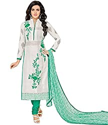 pakiza design new white green embroidered chanderi cotton party wear salwar suit dress material