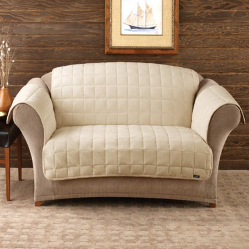 Sure Fit Deluxe Loveseat Pet Throw, Ivory front-807908