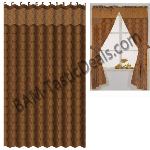 Matching Bath Set Rust Brown Circles Window Curtain Fabric Shower Curtain Ring Ebay