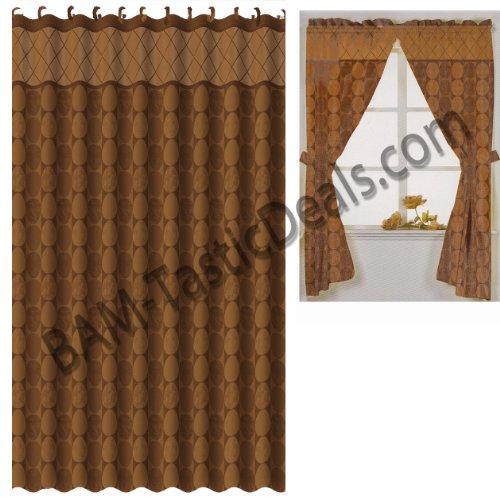 matching bath set rust brown circles window curtain fabric