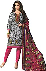Tripssy Women's Cotton Printed Unstitched Salwar Suit (tr_dm_01, Grey And Black)