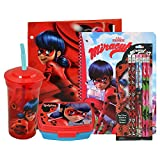 Miraculous Ladybug On The Go School Set- Drinking Cup with Straw, Food Container, Folder, Notebook, 6pk Pencils