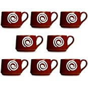 Tea Cup Ceramic/Stoneware In Brown & White Doodle Cubic (Set Of 8) Handmade By Caffeine