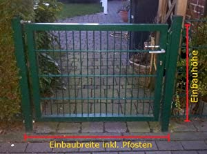 Hochwertiges Gartentor Hoftor / Grün beschichtet / TorEinbauBreite 100 cm  TorEinbauHöhe 103 cm  Inklusive 2 Pfosten (60mm x 60mm) / Mattentor   Kundenbewertungen