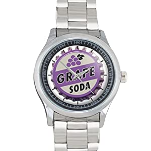 GRAPE SODA Novelty Drink Movies Up! Cute Bottle Cap Top FILGO171 Stainless Steel Wrist Watches