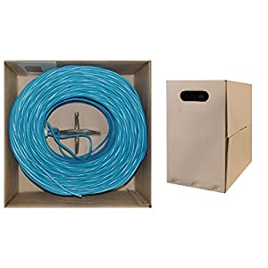 CableWholesale CAT6 24 AWG 500MHz 1000-Feet UTP Bulk Cable, Solid - Blue (10X8-061TH)