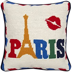 Jonathan Adler Paris Jet Set Needlepoint Pillow