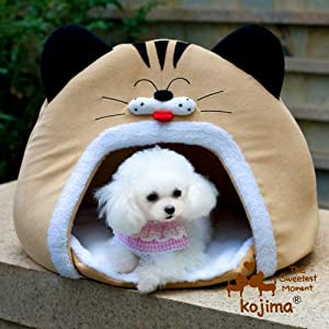 Cat Face Pet Bed Round Cat Bed Dog Tent (Beige)