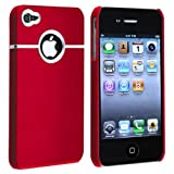 eForCity Snap-on Rubber Coated Case compatible with Apple® iPhone® 4 / 4S, Red with Chrome Hole Rear