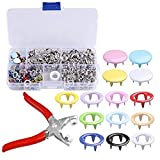 120 Sets snap Setter Hand Pliers Setting Tool,Metal Ring Button Press Studs Sewing Craft Fastener Snap Pliers Craft Tool 9.5mm, Aunifun (Color: Brown)