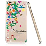 3Cworld iPhone 6 Case Clear Matte Back Cover Hardshell with Design [4.7'' Hard Plastic] - Retail Packaging - 17 Patterns (Flower-green)