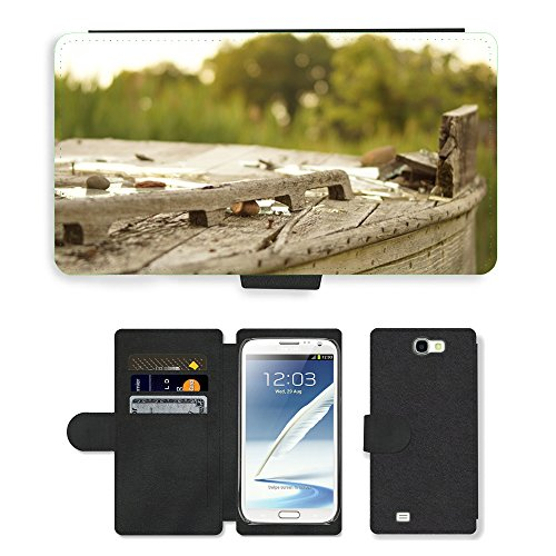 PU Flip Carcasa Funda de Cuero Piel Cubre Case // M00150040 Legno Broke Outdoor Vecchia Struttura // Samsung Galaxy Note 2 II N7100