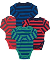 Leveret Long Sleeve 4-pack Striped Baby Boys Bodysuit 100% Cotton (Size 0-24)