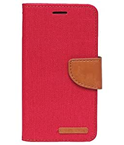 Aart Fancy Wallet Dairy Jeans Flip Case Cover for HTC826 (Red) By Aart Store