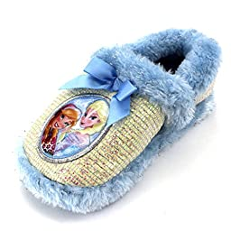 Frozen Kids A-Line Slippers (11/12 M US Little Kid, Silver/Blue Elsa & Anna)