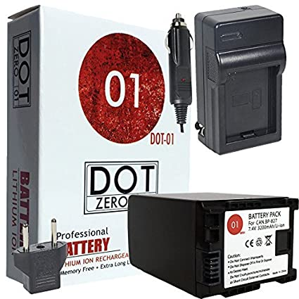 DOT-01-Brand-3200-mAh-Replacement-Canon-BP-827-Battery-and-Charger-for-Canon-HF10-Camcorder-and-Canon-BP827