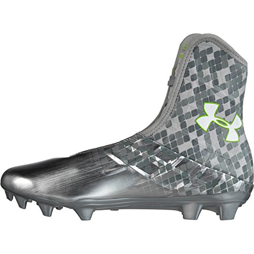 Under Armour Men`s Highlight Cleats, Metallic Silver/Hyper Green/Hyper Green, 10