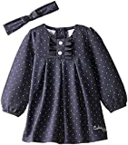 Calvin Klein Baby Girls' Denim Dress with Headband, Blue, 12 Months