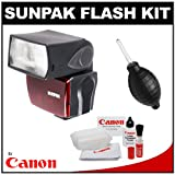Sunpak PF30X/DigiFlash 2800 Electronic Flash Unit (for Canon E-TTL II) + Cleaning Kit for Canon EOS 7D, 5D, 60D, 50D, Rebel T3, T3i, T2i, T1i, XS Digital SLR Cameras