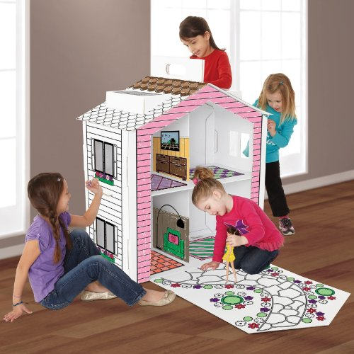 Discovery Kids Cardboard Color And Play Dollhouse 3 Feet Tall front-322692
