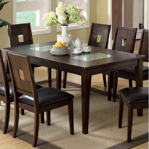 Primrose iii dining table w cracked glass inserts amazon for Cracked glass dining table