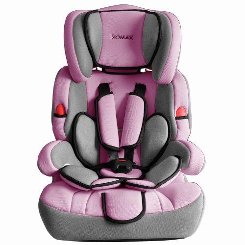 XM-001 Seggiolino auto rosa-grigio + Gruppo I / II / III (9 - 36 kg) + Collaudato ECE R44/04 + Cinture di sicurezza imbottite a cinque punti + Poggiatesta regolabile + Colore rosa e grigio + Schienale removibile + Completamente sfoderabile e lavabile