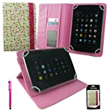 Emartbuy® Hot Pink Stylus + Universal Range Floral Pink / Green Multi Angle Executive Folio Wallet Case Cover With Card Slots Suitable for Advent Vega Tegra Note 7 Inch Tablet