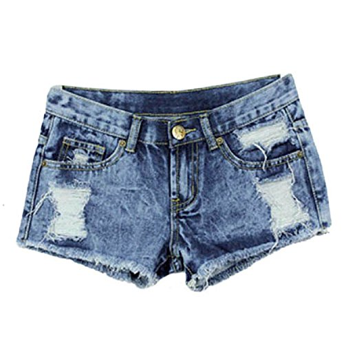 Minetom Donne Jeans Vita Bassa Estate Hot Pants Pantaloncini Denim ( EU M )