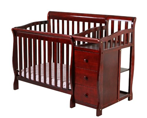 Dream On Me Jayden 2 in 1 Convertible Portable Crib with Changer, Cherry