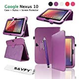 SAVFY® NEW Google Nexus 10 Tablet PC Luxury Flip Leather Case Cover Integrated Stand Multi-Function Folio Pouch, with Magnetic Sleep Wake Sensor for Google / Samsung Nexus 10